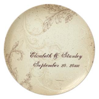 Vintage beige brown scroll leaf wedding keepsake party plate