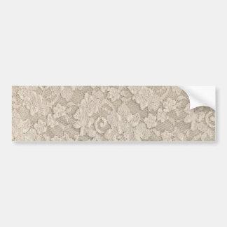 Vintage Beige Floral Lace Bumper Sticker