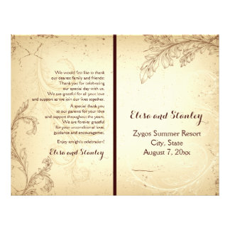 Vintage beige scroll leaf folded wedding program 21.5 cm x 28 cm flyer
