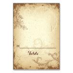 Vintage beige scrollleaf wedding folded place card table cards