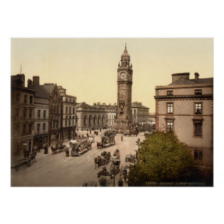 Vintage Belfast, Albert Memorial street scene Poster
