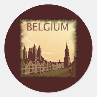 Vintage Belgium Classic Round Sticker