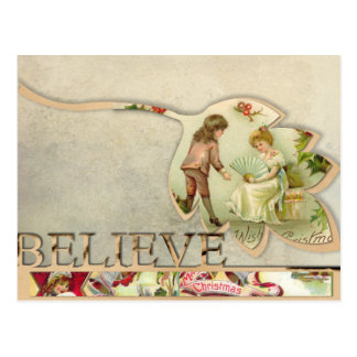 Vintage Believe Christmas Postcard