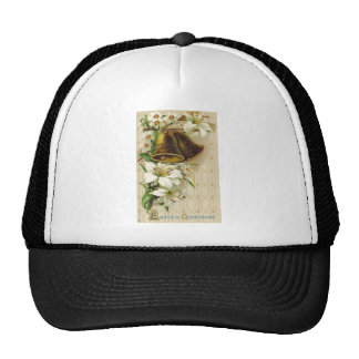 VINTAGE BELL EASTER LILIES AND DAISIES GREETINGS MESH HATS