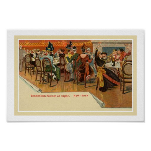 Vintage belle epoque New York restaurant party Print