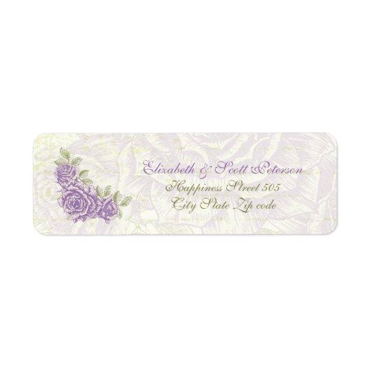 Vintage bellflower purple roses wedding Label Return Address Label