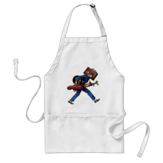 Vintage Bellhop in Uniform and Carrying Luggage Aprons