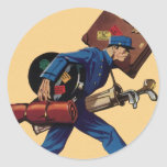 Vintage Bellhop in Uniform and Carrying Luggage Round Stickers