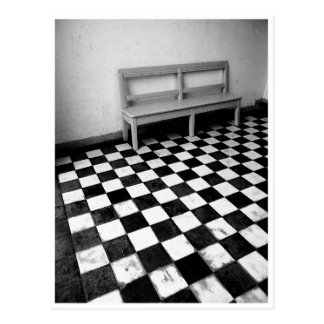 Vintage bench on tiles black/white postcard