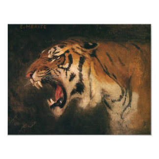 Vintage Bengal Tiger Big Cat Roaring, Wild Animal 11 Cm X 14 Cm Invitation Card