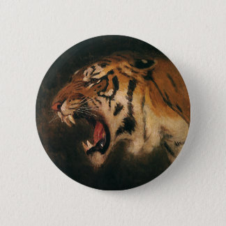 Vintage Bengal Tiger Big Cat Roaring, Wild Animal 6 Cm Round Badge