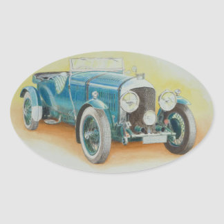 Vintage Bentley Sports Car Oval Sticker