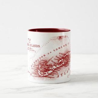 Vintage Bermuda Map, Burgundy Two-Tone Coffee Mug