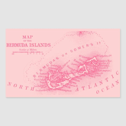 Vintage Bermuda Map, Pink Rectangle Stickers