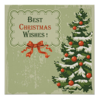 Vintage Best Christmas Wishes Poster