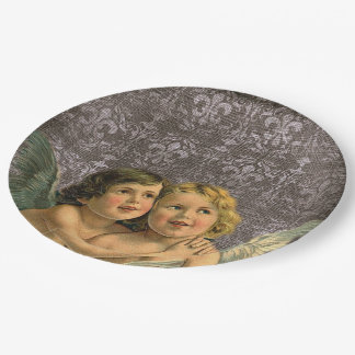Vintage Best Friends Twins Siblings Angels Party 9 Inch Paper Plate