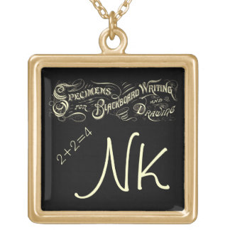 Vintage Best Teacher Blackboard Chalkboard Writing Square Pendant Necklace