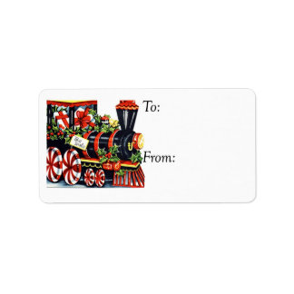 Vintage Best Wishes Christmas Train Gift Tag