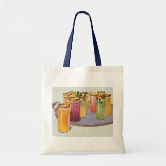 Vintage Beverages, Drinks with Ice Cubes on a Tray Budget Tote Bag