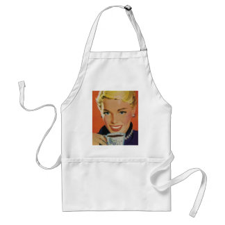 Vintage Beverages, Smiling Woman Drinking Coffee Standard Apron