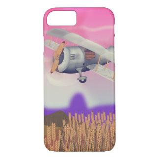 Vintage Bi-Plane Flying over crops iPhone 7 Case