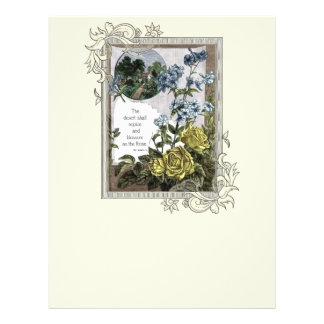 Vintage Bible Scripture With Roses 21.5 Cm X 28 Cm Flyer