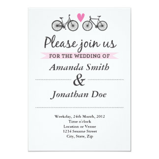 Vintage Bicycle and Hearts Wedding Invitation