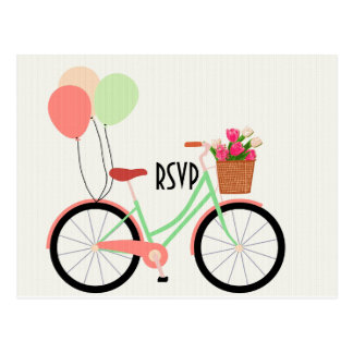 Vintage bicycle and Tulips Wedding RSVP with photo Postcard