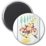 Vintage Bicycle Art 6 Cm Round Magnet