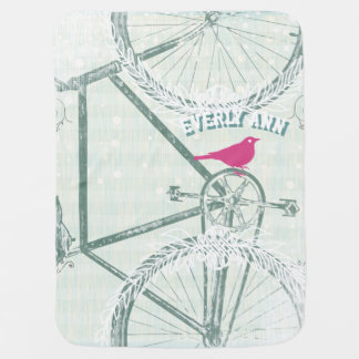 Vintage Bicycle Baby Blanket
