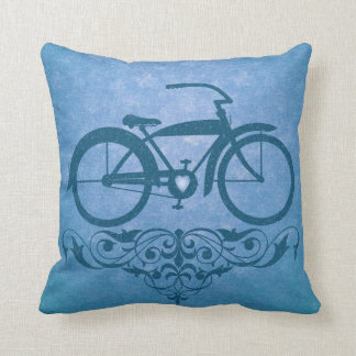 Vintage Bicycle Blue Pillow