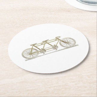 Vintage Bicycle Built For Two / Tandem Bike Gold Round Paper Coaster