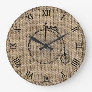 Vintage Bicycle Burlap Large Clock