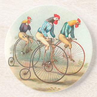 Vintage Bicycle Chickens Drink Coaster