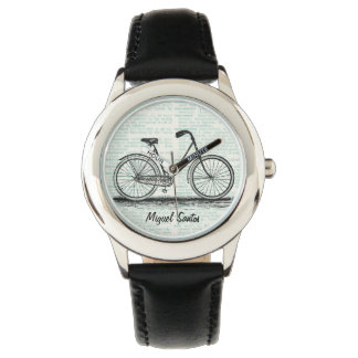 Vintage Bicycle Dictionary Page Art Personalized Watch