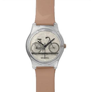 Vintage Bicycle Dictionary Page Custom Name Brown Watch