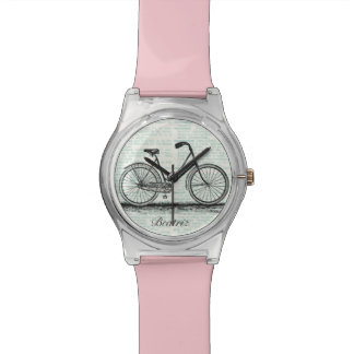 Vintage Bicycle Dictionary Page Personalized Name Watch