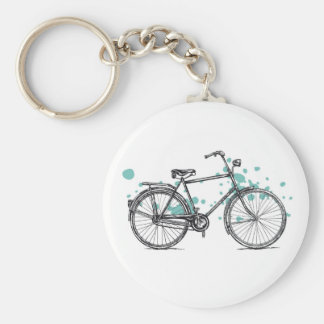 Vintage Bicycle Drawing Key Chain