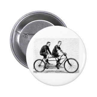 Vintage Bicycle For Two - Cycling Sports 6 Cm Round Badge