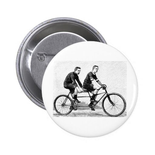 Vintage Bicycle For Two - Cycling Sports Pinback Buttons
