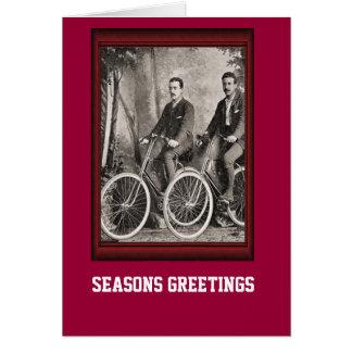 Vintage Bicycle Gentlemen on bicycles Card
