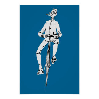 Vintage Bicycle Guy Smoking Cigar Graphic Funny Poster