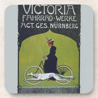 Vintage Bicycle Lady & Dog Coasters