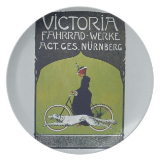Vintage Bicycle Lady & Dog Dinner Plates