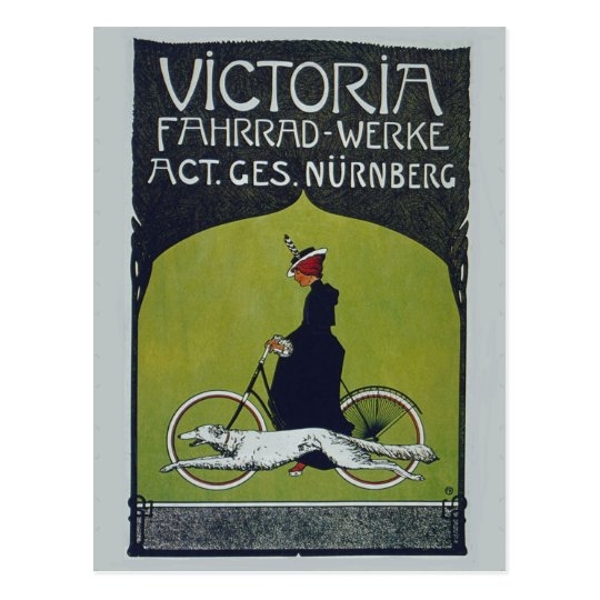 Vintage Bicycle Lady & Dog Postcard