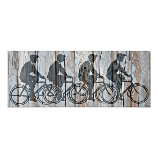 Vintage Bicycle Men Rustic Wooden Board Wall Art