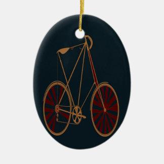 Vintage Bicycle Old School Blue Red Bike Ceramic Oval Decoration