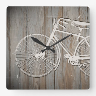 Vintage Bicycle on Rustic Wooden Board Wall Art Square Wall Clock