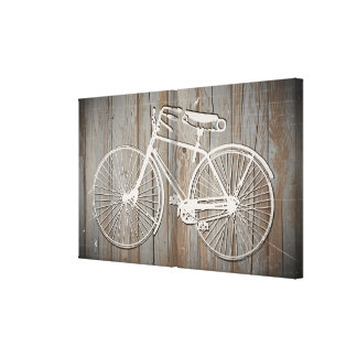 Vintage Bicycle on Rustic Wooden Board Wall Art Stretched Canvas Print