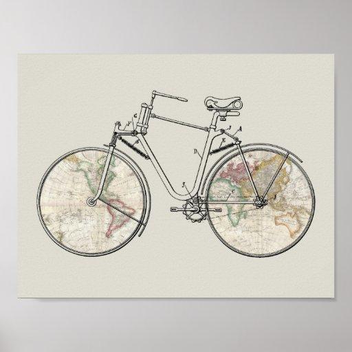 Vintage Bicycle Patent Art World Map Print